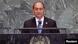 Presiden Burma Thein Sein saat memberikan pidato di depan sidang Majelis Umum PBB di New York (27/9).