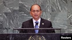 27일 유엔 총회 연설 중인 테인 세인 버마 대통령.