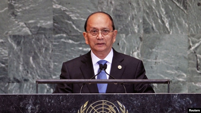 Burma's President Thein Sein addresses the 67th United Nations General Assembly at the U.N. Headquarters in New York, September 27, 2012.