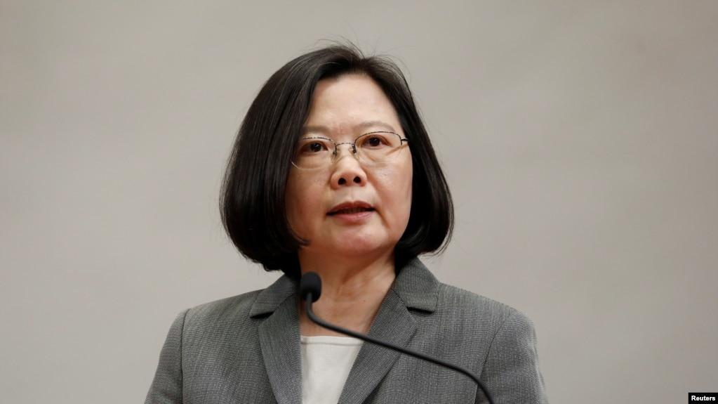 台湾总统蔡英文在记者会上 (资料照片)