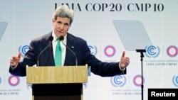 11일 페루 수도 리마에서 열린 유엔 기후변화협약 당사국 총회에서 존 케리 미국 국무장관이 연설하고 있다.