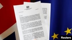 Копия письма, отправленного 5 апреля Терезой Мэй президенту Европейского совета Дональду Туску