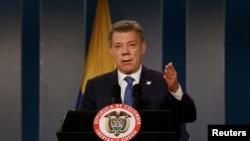 Tổng thống Colombia Juan Manuel Santos phát biểu tại một cuộc họp báo ở Bogota, Columbia, ngày 5/10/2016.