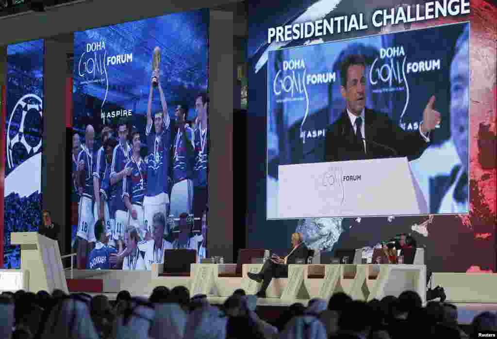 Former French President Nicolas Sarkozy speaks at the official opening ceremony of the Doha GOALS (Gathering of all Leaders in Sport) forum in Doha December 11.