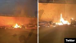 عکسهایی که از حمله بامداد جمعه در توئیتر منتشر شده است.