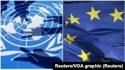 Zastave Ujedinjenih nacija i Evropske unije (Foto: Reuters)