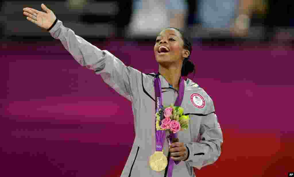 U.S. gymnast Gabrielle Douglas after receiving her gold medal during the artistic gymnastics women's individual all-around competition.