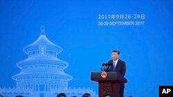 Presiden Xi Jinping berbicara dalam Sidang Umum Interpol ke-86 di Beijing, 26 September 2017.