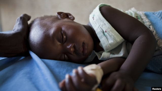Malaria patient in South Sudanese state of Northern Bahr el-Ghazal, June 1, 2012.