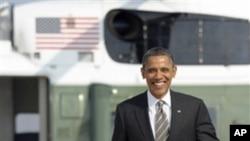 3일 간의 미 서부지역 방문을 위해 전용기로 향하는 바락 오바마 미 대통령