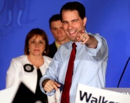 Wisconsin Republican Gov. Scott Walker reacts at his victory party in Waukesha after winning a recall election, June 5, 2012.