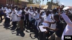 FILE: Junior doctors on strike in Zimbabwe.