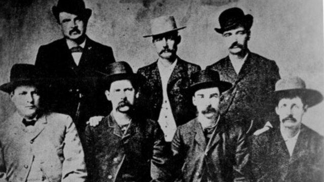 A group of famous gunmen of the Wild West.  Wyatt Earp is third from the left and Bat Masterson is second from the right.