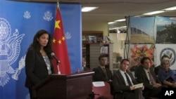 Pejabat sementara Wakil Menteri Luar Negeri AS Uzra Zeya berbicara pada wartawan usai mengadakan dialog dengan pemerintah China (2/8).