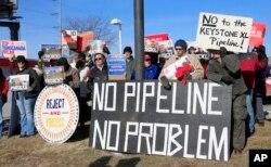 지난 2015년 1월 미국 네브라스카주 오마하에서 송유관 건설에 반대하는 주민들의 시위가 열렸다.