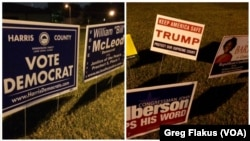 Voting has ended in Houston, Texas, but lots of campaign signs remain around voting locations, such as these near a northwest Houston precinct, Nov. 8, 2016.