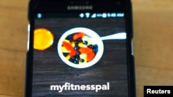 FILE - The MyFitnessPal app is seen on a smartphone.