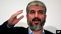 FILE - Khaled Meshaal, head of Hamas Politburo Sept .28, 2009.