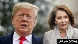 Ifoto ya Perezida wa Amerika Donald Trump n'umukuru w'abashingamateka b'Abademokrate Nancy Pelosi