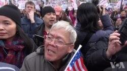 纽约万人集会声援华裔前警员梁彼得