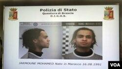 Polisi Italia mengumumkan penangkapan tersangka teror warga Maroko berusia 20 tahun yang bernama Mohamed Jarmoune (15/3).