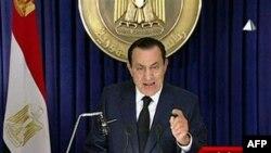 Президент Египта Хосни Мубарак. Каир. 1 февраяля 2011 года