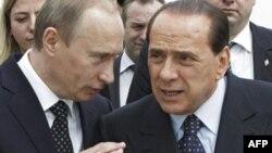 Владимир Путин и Сильвио Берлусконе