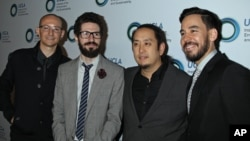 FILE - Chester Bennington, Brad Delson, Joe Hahn and Mike Shinoda (Linkin Park) at An Evening of Environmental Excellence Presented By The UCLA Institute of The Environment and Sustainability.