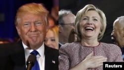 2016년 미국 대통령 선거에 입후보한 공화당 도널드 트럼프 후보(왼쪽)와 민주당 힐러리 클린턴 후보. (자료사진)