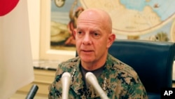 美國海軍陸戰隊司令伯格在東京的一個媒體圓桌會議上。