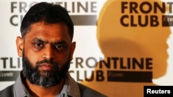 FILE - Former Guantanamo detainee Moazzam Begg attends a news conference at the Frontline Club in London, Jan. 10, 2012.