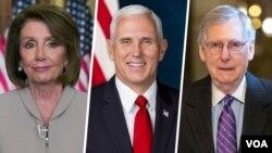 از راست میچ مککانل، مایک پنس و نانسی پلوسی