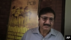 Zaka Ashraf, chief of Pakistan Cricket Board gives details of upcoming Pakistan-Indian cricket series to reporters, in Lahore, Pakistan, July 16, 2012.