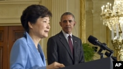 At a joint news conference Friday at the White House, Korean President Park Geun-hye, left, and U.S. President Barack Obama showed unity in dealing with North Korea.