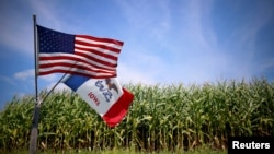 FILE - U.S. and Iowa state flags are seen next to a cornfield in Grand Mound, Iowa, Aug. 16, 2015.