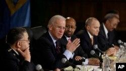 美国副总统拜登2月11日在费城举行的一个控枪讨论会上发言