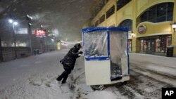 風雪中的新澤西州大西洋城