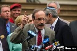 FILE - U.S. Representative Eliot Engel, D-N.Y., speaks during a rally in New York, July 14, 2014.