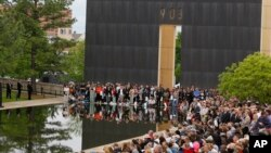 About 1,000 people gathered for a ceremony for the 20th anniversary of the Oklahoma City bombing at the Oklahoma City National Memorial in Oklahoma City, April 19, 2015.
