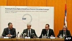"""Predsednik Boris Tadić je danas u Palati Srbija otvorio Treću međunarodnu konferenciju ombudsmana za oružane snage, čija je tema """"Zaštita ljudskih prava pripadnika oružanih snaga: stari i novi izazovi"""", 14. april 2011."""