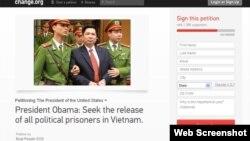 Thỉnh nguyện thư do Ủy ban Cứu người Vượt biển BPSOS khởi xướng trên trang Change.org của Tòa Bạch Ốc kêu gọi chính quyền của Tổng thống Obama yêu cầu Việt Nam phải cải thiện nhân quyền trước khi mở rộng giao thương với Hà Nội.