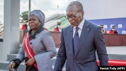 La Vice-présidente du Bénin Mariam Chabi Talata et le président Patrice Talon, Porto-Novo, 23 mai 2021.