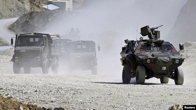 Turkish troops patrol in Hakkari province, southeastern Turkey, June 19, 2010.