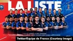 Les 23 joueurs de l'équipe de France retenus sur la liste de Didier Deschamps, 26 juin 2018. (Twitter/Equipe de France)