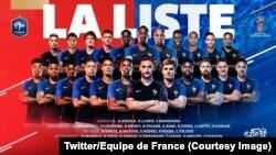 Les 23 joueurs de l'équipe de France retenus sur la liste de Didier Deschamps, 26 juin 2018.