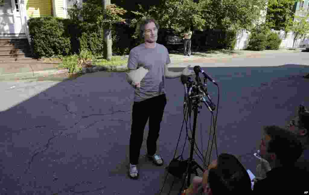 Peter Theo Curtis meets with reporters outside his mother's home in Cambridge, Massachusetts, Aug. 27, 2014.