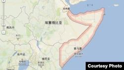 索马里地理位置(谷歌地图)