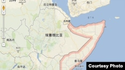 索馬里地理位置(谷歌地圖)