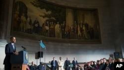 美國總統奧巴馬在一次公民歸化入籍儀式上發表講話