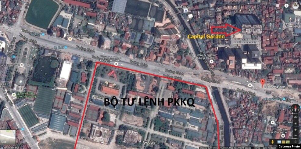 Vị trí 2 toà tháp Capital Garden và Bộ Tư lệnh PKKQ trên bản đồ.